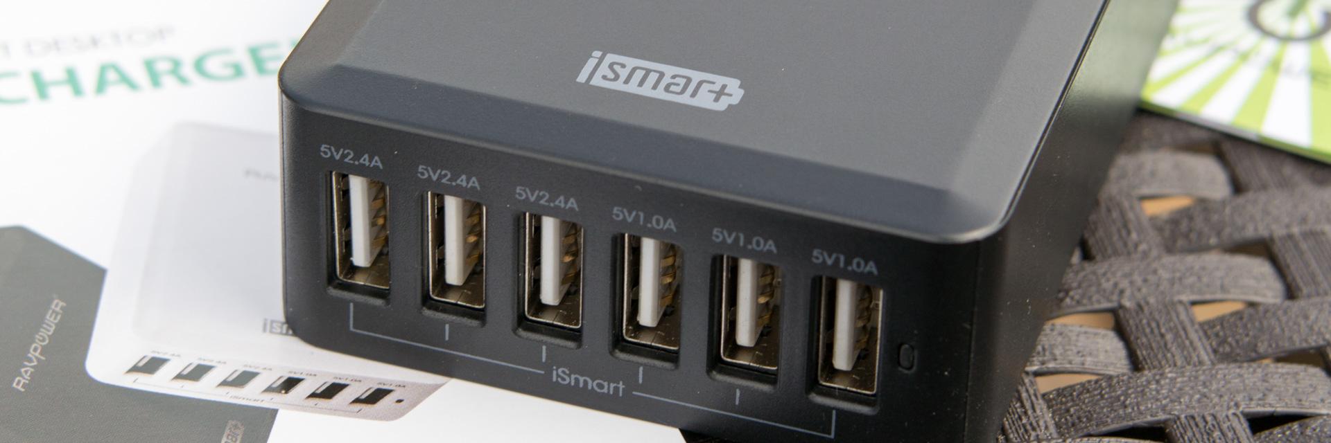 Review RAVPower 50W 5V / 10.2A 6-Port USB Ladegerät mit iSmart Technologie