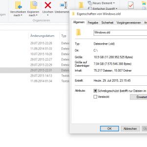 Windows.old unter Windows 10 löschen