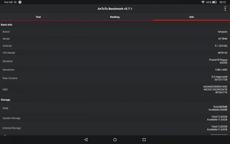 Benchmark Amazon Fire HD 10 Tablets Test Vergleich MediaTek MT8135 PowerVR Rogue G6200 Antutu