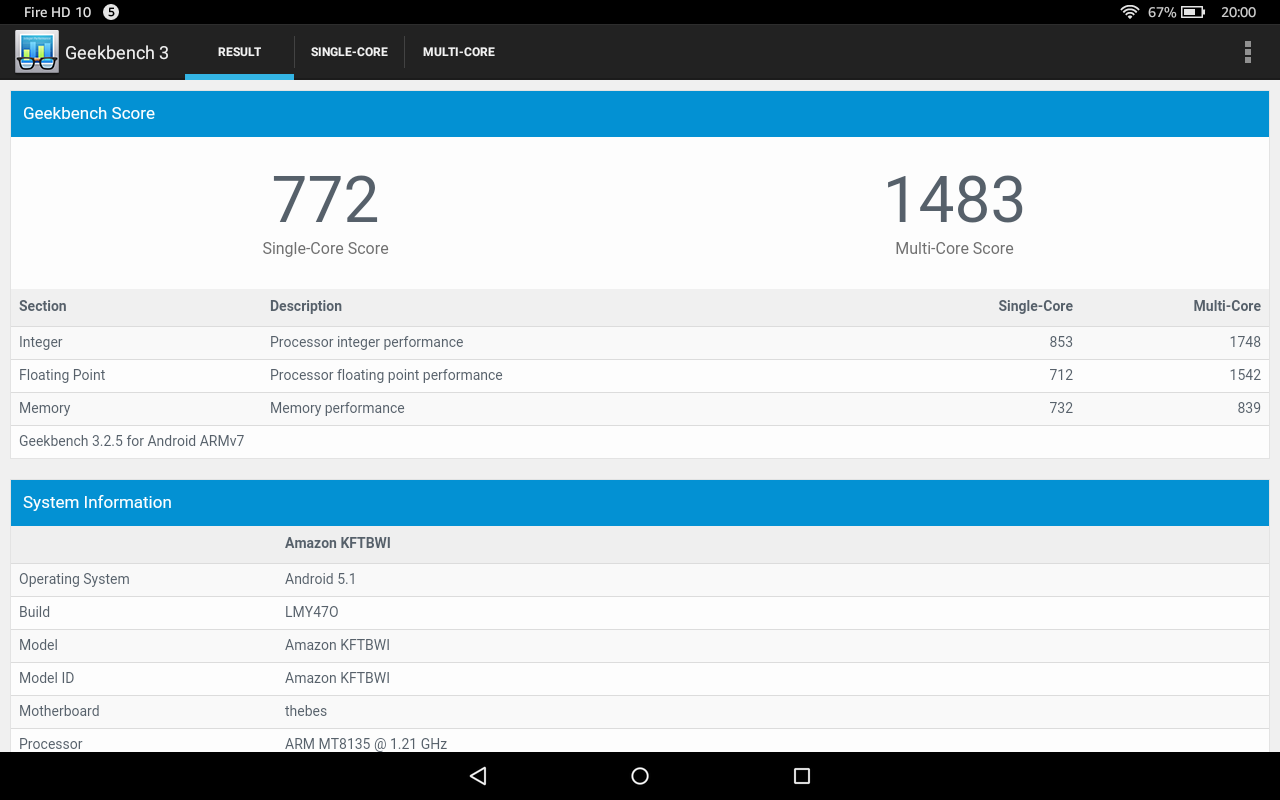 Benchmarks Des Amazon Fire HD 10 Tablets Antutu