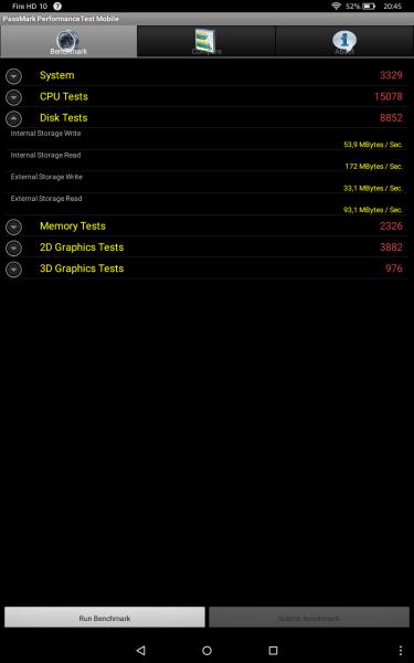 Benchmark Amazon Fire HD 10 Tablets Test Vergleich MediaTek MT8135 PowerVR Rogue G6200 PassMark