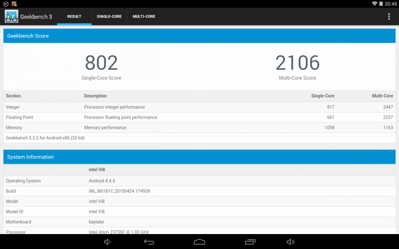 Intel Atom x5-Z8500 Intel Atom Z3735F unter Android Teclast X98 Pro vs. Chuwi Vi8 Benchmark geekbench antutu Bericht