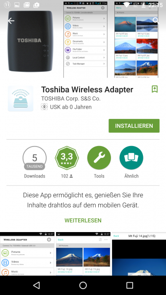 Toshiba STOR.E Wireless Adapter im Test Review W-LAN Adapter USB HDD Festplatte
