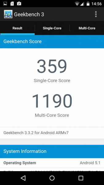 Wiko Rainbow Jam Geekbench im Benchmark Test Mediatek MT6580 Mali-400