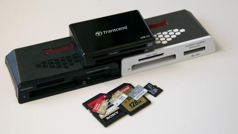 Drei Speicherkarten-Lesegeräte im Vergleich Kingston FCR-HS4 Kingston FCR-HS3 Transcend RDF8 Review Test SD Karten MicroSD Reader Cardreader USB 3.0
