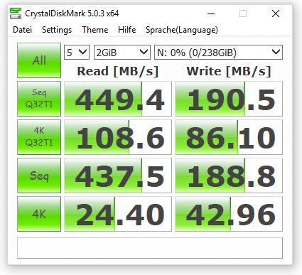 CrystalDiskmark Verbatim VX450
