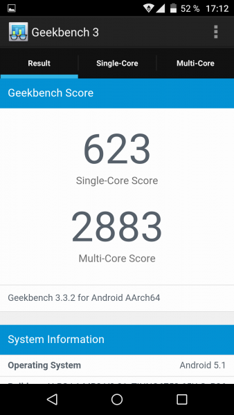 Geekbench Benchmark des Wiko Fever (2)