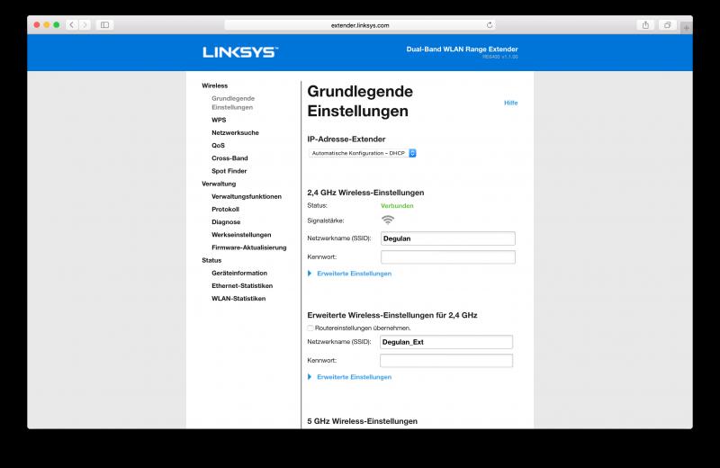 Linksys RE6400 Benutzeroberfläche Test (12)