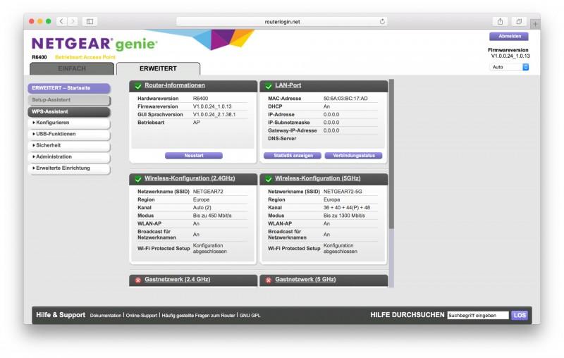 Netgear R6400 Benutzeroberfläche Test Bericht