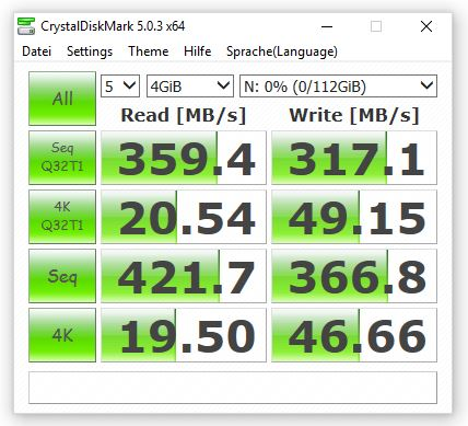 Sandisk Extreme 500 Benchmark crystaldiskmark