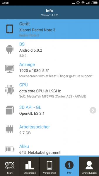 GFXBench Xiaomi RedMi 3 im Benchmark Check Mediatek MTK6795 Helio X10 (4)