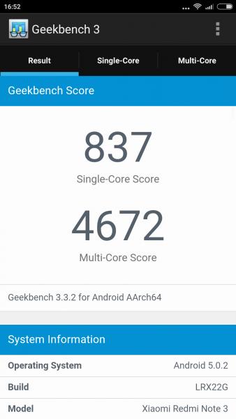 Xiaomi RedMi 3 im Benchmark Check Mediatek MTK6795 Helio X10 Geekbench (2)