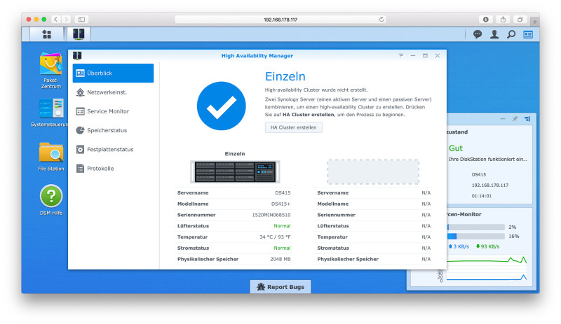 Synology DS415+ NAS im Test DSM-230