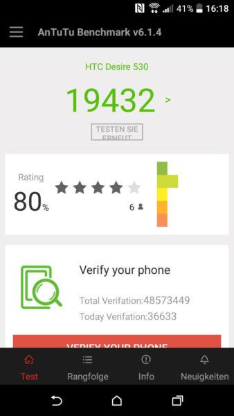 HTC Desire 530 Antutu