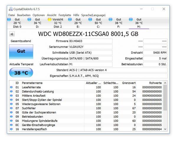 WD MyBook 2016 8TB Crystal Diskmark