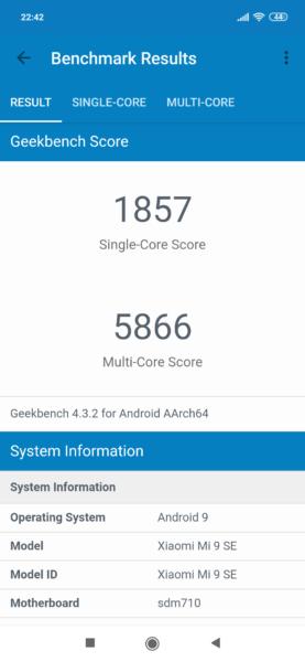 Xiaomi Mi 9 SE Geekbench