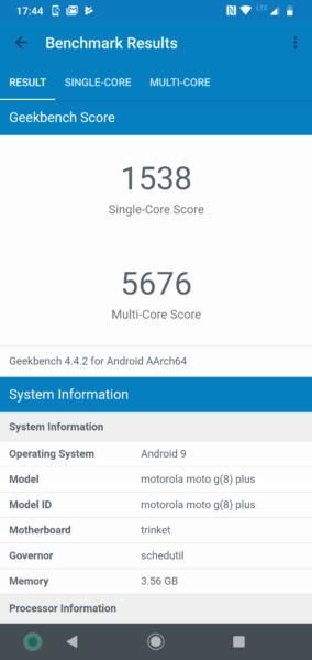 Motorola Moto G8 Plus Geekbench