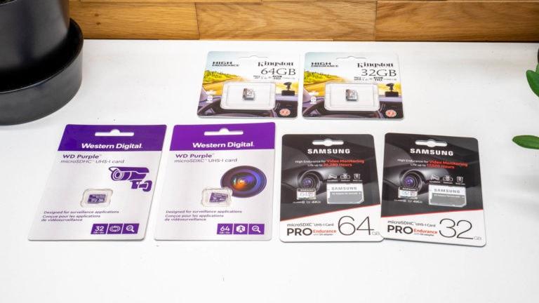 Spezielle high Endurance microSD Speicherkarten für Überwachungskameras? 6x Samsung, WD und Kingston im Vergleich