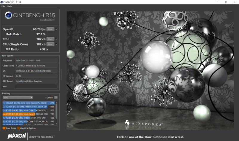 Cinebench R15 Xps 13 9300