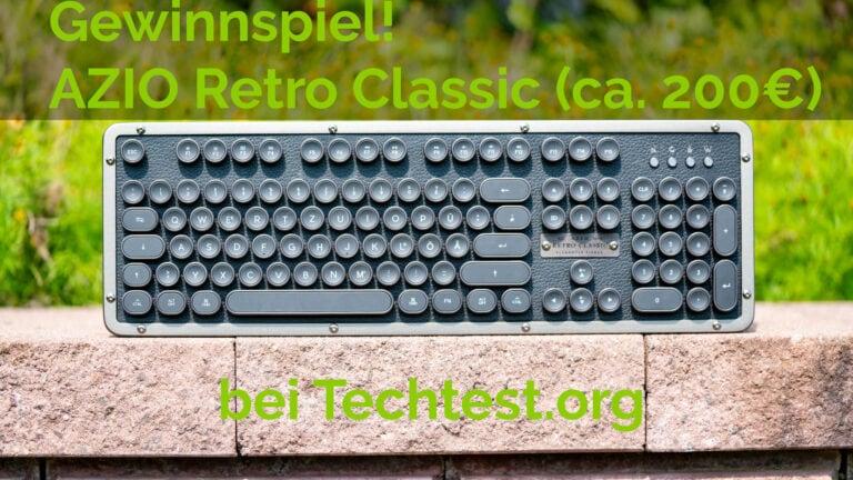 Gewinnspiel, die AZIO Retro Classic BT Tastatur im Wert von 200€