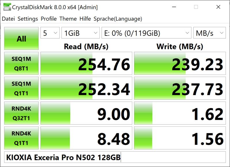 Kioxia Exceria Pro N502 Crystaldiskmark 128gb