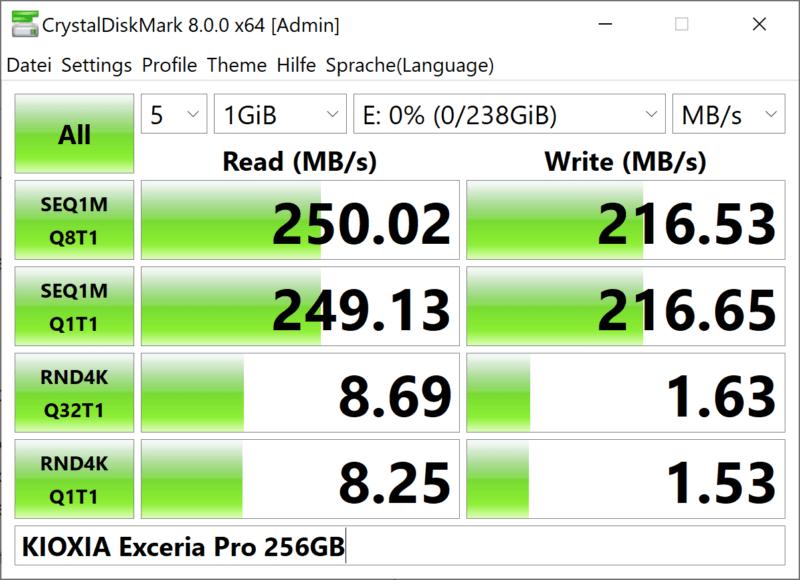 Kioxia Exceria Pro N502 Crystaldiskmark 256gb