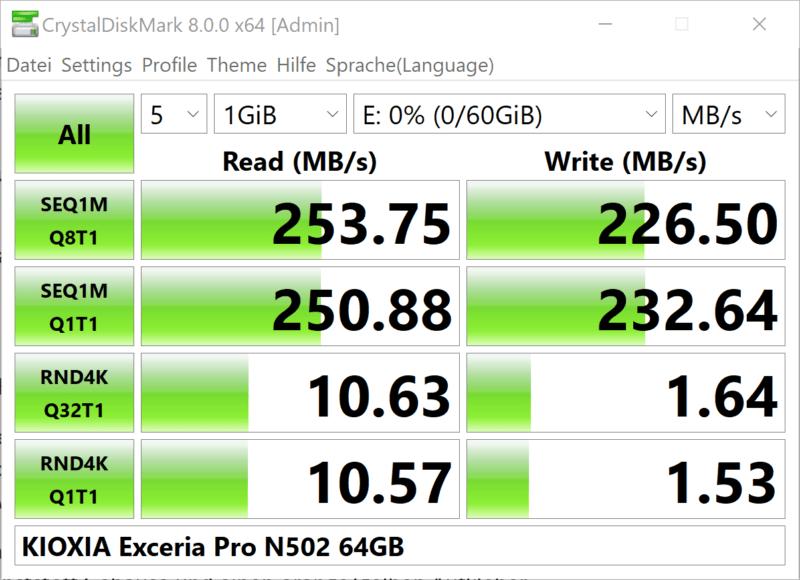 Kioxia Exceria Pro N502 Crystaldiskmark 64gb