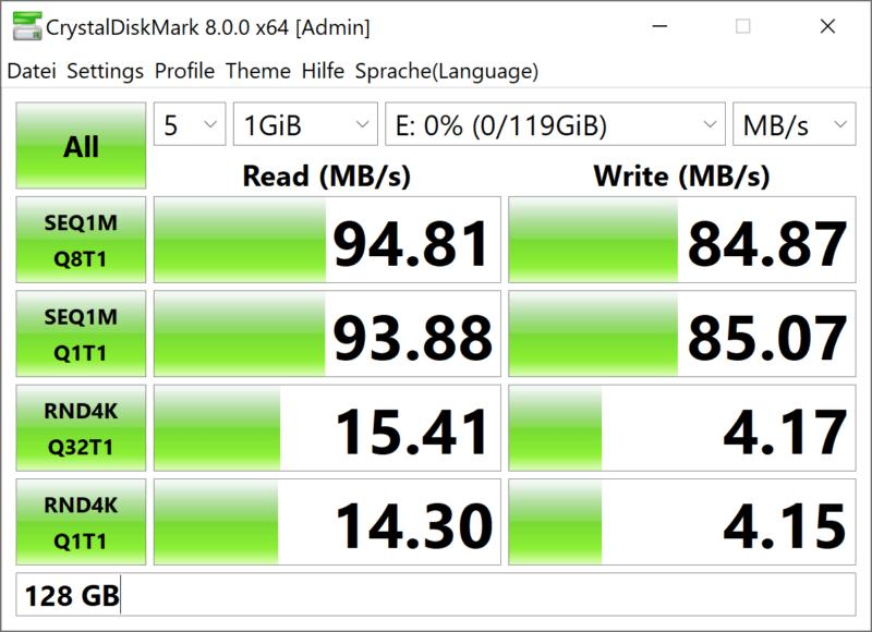 samsung pro plus 128gb cryystaldiskmark