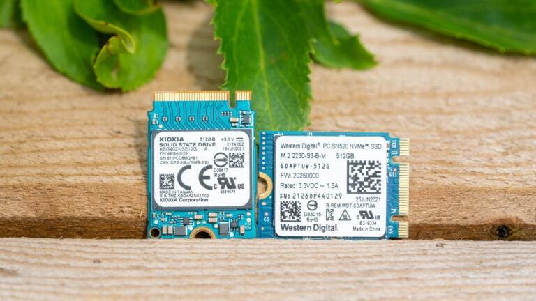 M.2 2230 NVME SSDs von KIOXIA und Western Digital im Vergleich